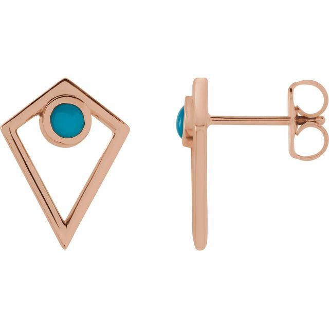 Genuine Turquoise Earrings in 14 Karat Rose Gold Turquoise Cabochon Pyramid Earrings