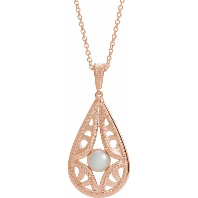 Cultured Freshwater Pearl Necklace in 14 Karat Rose Gold Vintage-Inspired Freshwater Cultured Pearl 16-18
