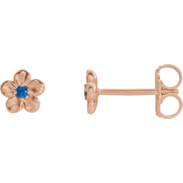 Must See 14 Karat Rose Gold Youth Imitation September Birthstone Flower Earrings