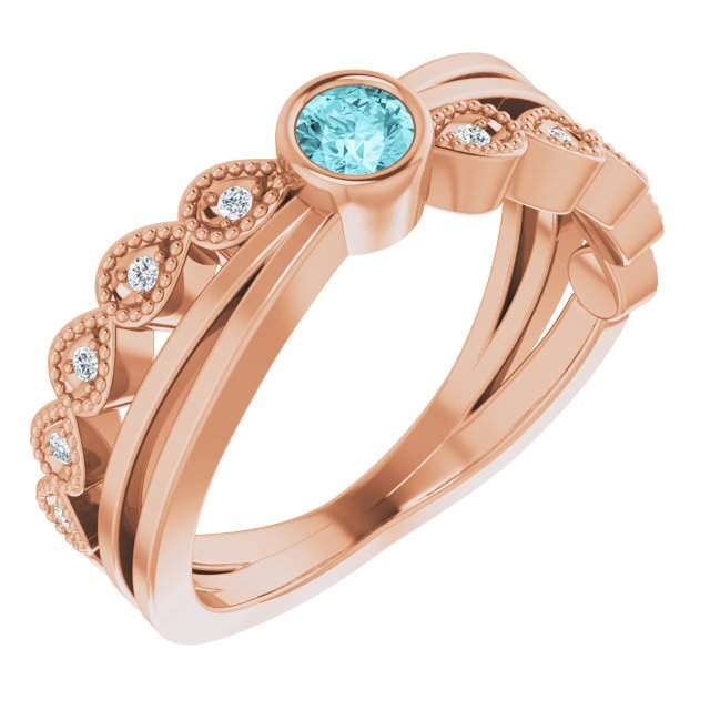 Genuine Zircon Ring in 14 Karat Rose Gold Zircon & .05 Carat Diamond Ring