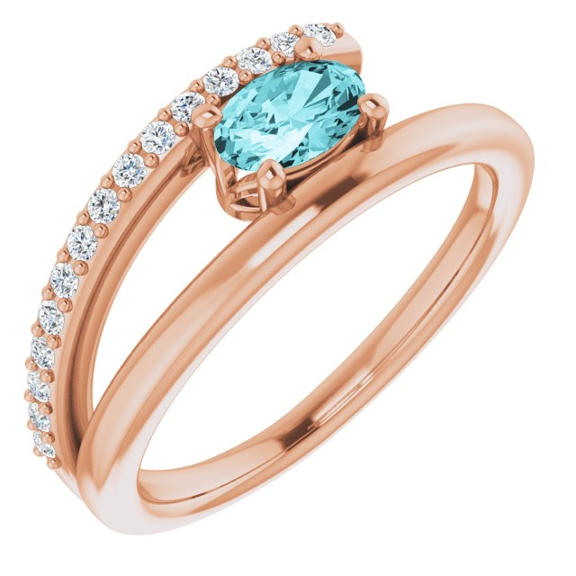 Genuine Zircon Ring in 14 Karat Rose Gold Zircon & 1/8 Carat Diamond Ring