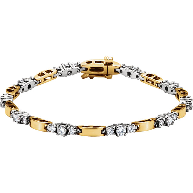 Good Looking 14 Karat Yellow & White Gold 1 3/4 Carat Total Weight Round Genuine Diamond Line Bracelet