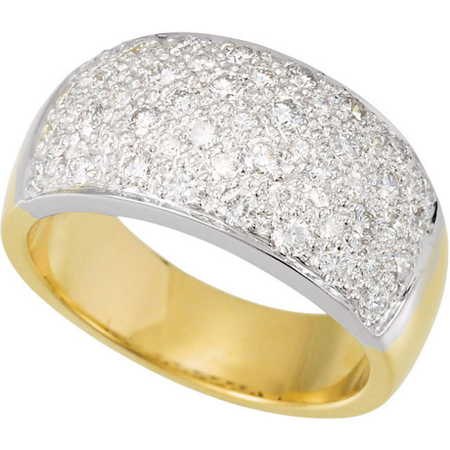 Easy Gift in 14 Karat White Gold & Yellow 1 Carat Total Weight Diamond Micro Pave Ring Size 7