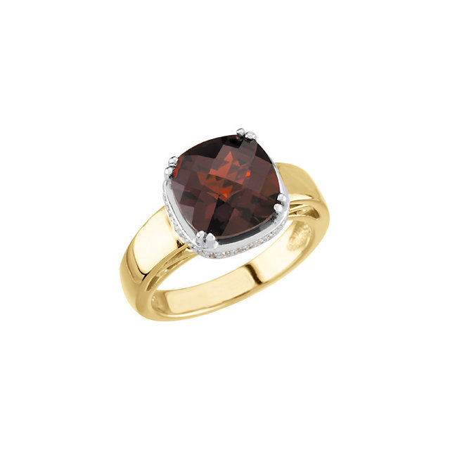 Fantastic 14K Two-Tone Cushion Genuine Mozambique Garnet & 1/6 Carat Total Weight Diamond Ring