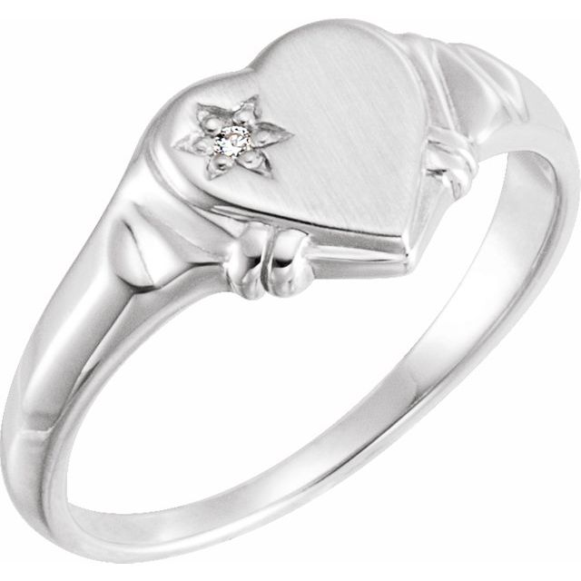 White Diamond Ring in 14 Karat White Gold .005 Carat Diamond Heart Ring