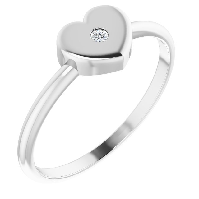 White Diamond Ring in 14 Karat White Gold .01 Carat Diamond Solitaire Heart Youth Ring