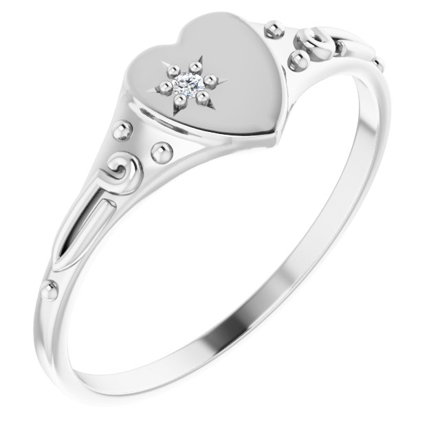 White Diamond Ring in 14 Karat White Gold .01 Diamond Heart Ring Size 5
