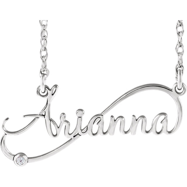 Eye Catchy 14 Karat White Gold .015 Carat Total Weight Diamond Infinity-Inspired Script Nameplate Necklace