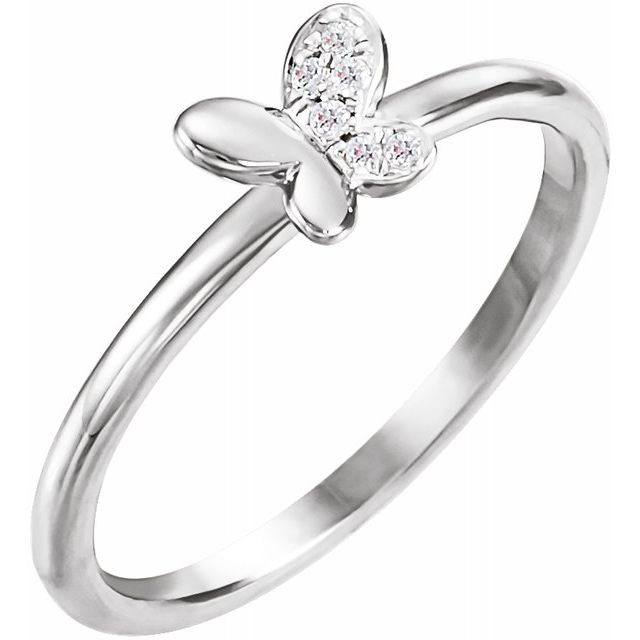 White Diamond Ring in 14 Karat White Gold .02 Carat Diamond Butterfly Youth Ring