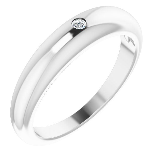 White Diamond Ring in 14 Karat White Gold .03 Carat Diamond Petite Dome Ring