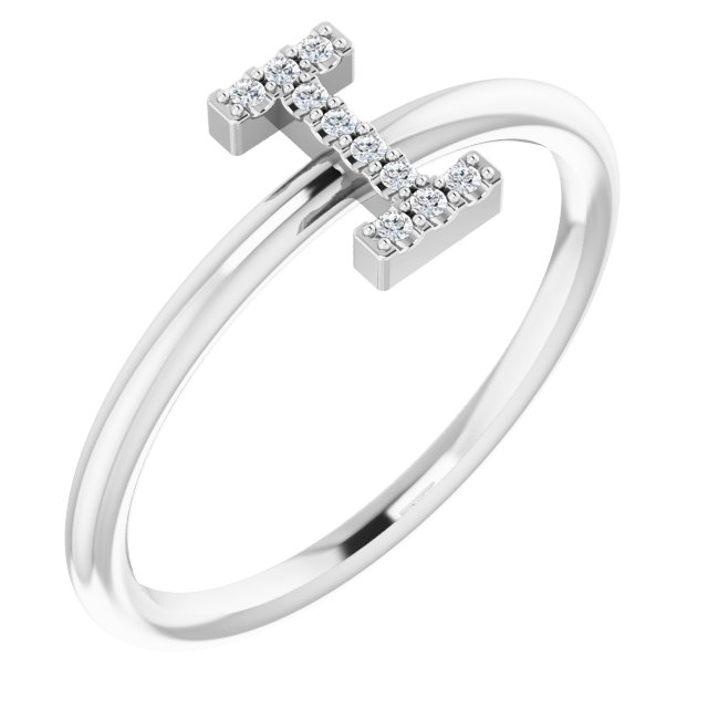 White Diamond Ring in 14 Karat White Gold .04 Carat Diamond Initial I Ring