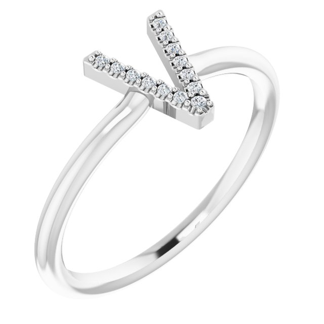 White Diamond Ring in 14 Karat White Gold .04 Carat Diamond Initial V Ring