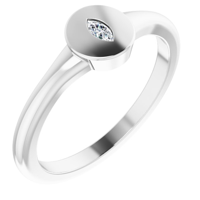 White Diamond Ring in 14 Karat White Gold .05 Carat Diamond Signet Ring