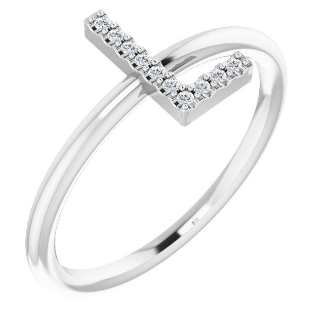 White Diamond Ring in 14 Karat White Gold .05 Carat Diamond Initial L Ring