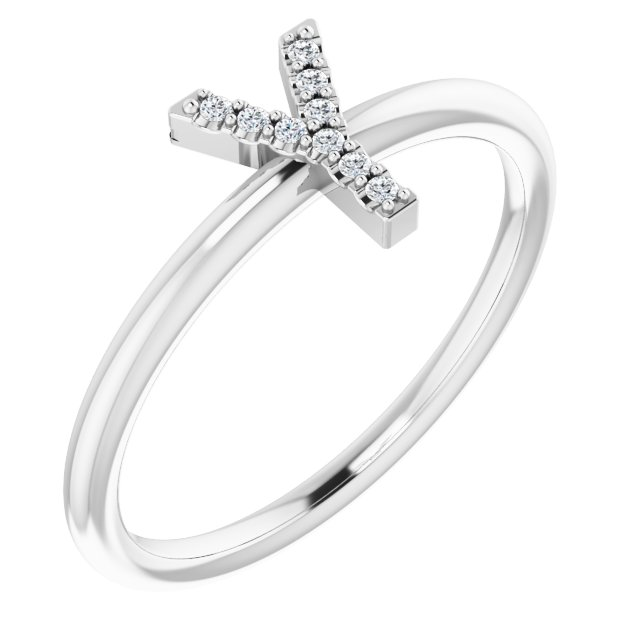 White Diamond Ring in 14 Karat White Gold .05 Carat Diamond Initial Y Ring
