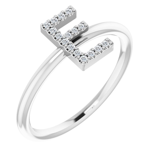 White Diamond Ring in 14 Karat White Gold .06 Carat Diamond Initial E Ring