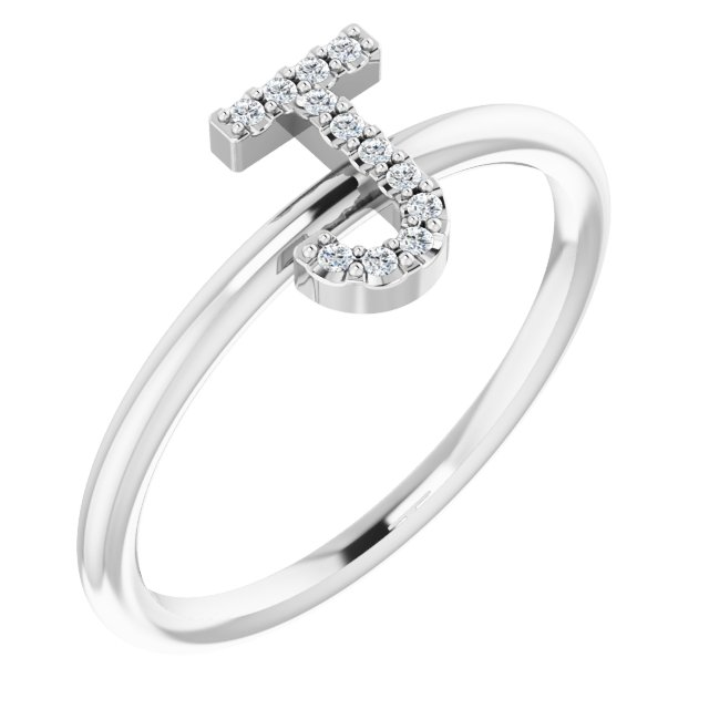 White Diamond Ring in 14 Karat White Gold .06 Carat Diamond Initial J Ring
