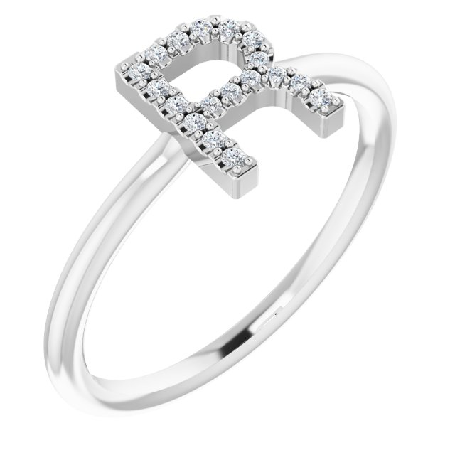 White Diamond Ring in 14 Karat White Gold .06 Carat Diamond Initial R Ring