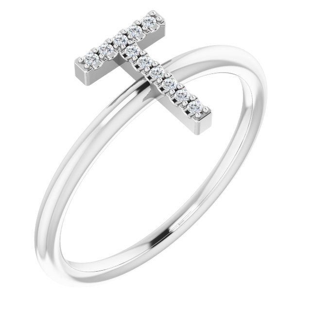 White Diamond Ring in 14 Karat White Gold .06 Carat Diamond Initial T Ring