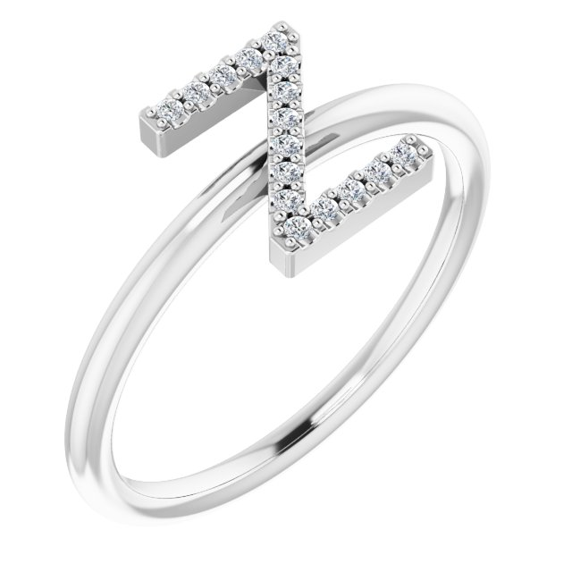 White Diamond Ring in 14 Karat White Gold .06 Carat Diamond Initial Z Ring