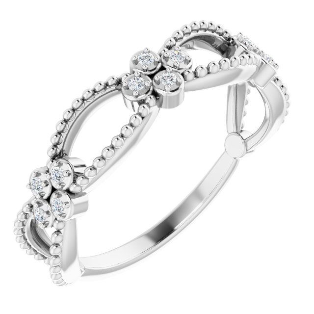 White Diamond Ring in 14 Karat White Gold .06 Carat Diamond Stackable Beaded Ring
