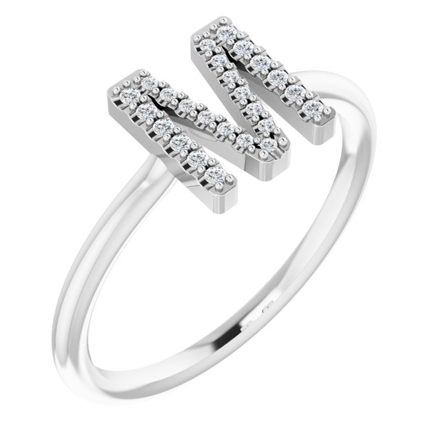 White Diamond Ring in 14 Karat White Gold .07 Carat Diamond Initial M Ring