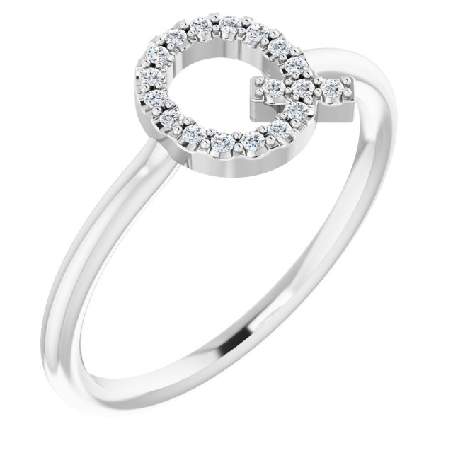 White Diamond Ring in 14 Karat White Gold .07 Carat Diamond Initial Q Ring