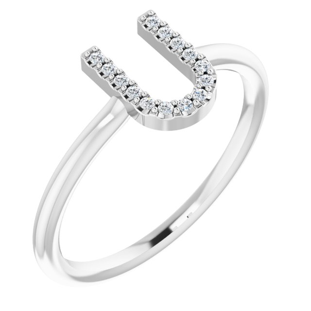 White Diamond Ring in 14 Karat White Gold .07 Carat Diamond Initial U Ring