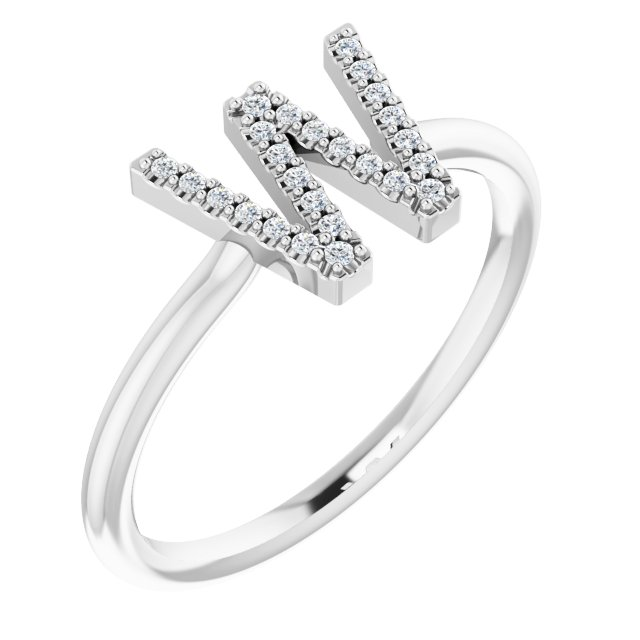 White Diamond Ring in 14 Karat White Gold .07 Carat Diamond Initial W Ring