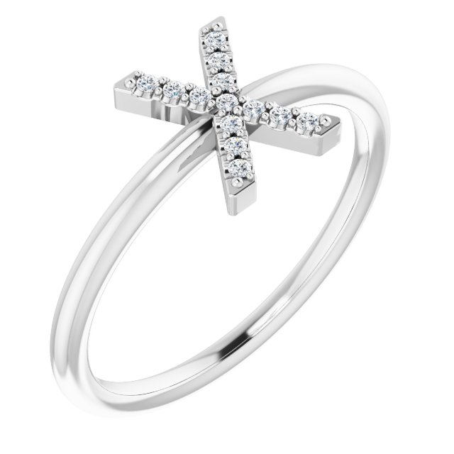 White Diamond Ring in 14 Karat White Gold .07 Carat Diamond Initial X Ring