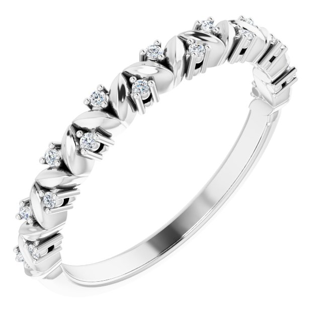 White Diamond Ring in 14 Karat White Gold .07 Carat Diamond Leaf Stackable Ring
