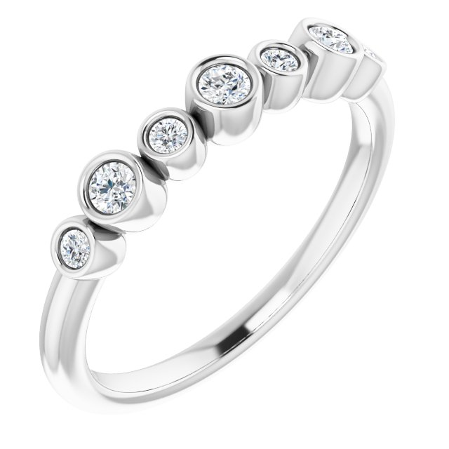 White Diamond Ring in 14 Karat White Gold .08 Carat Diamond Bezel-Set Ring