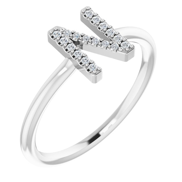 White Diamond Ring in 14 Karat White Gold .08 Carat Diamond Initial N Ring