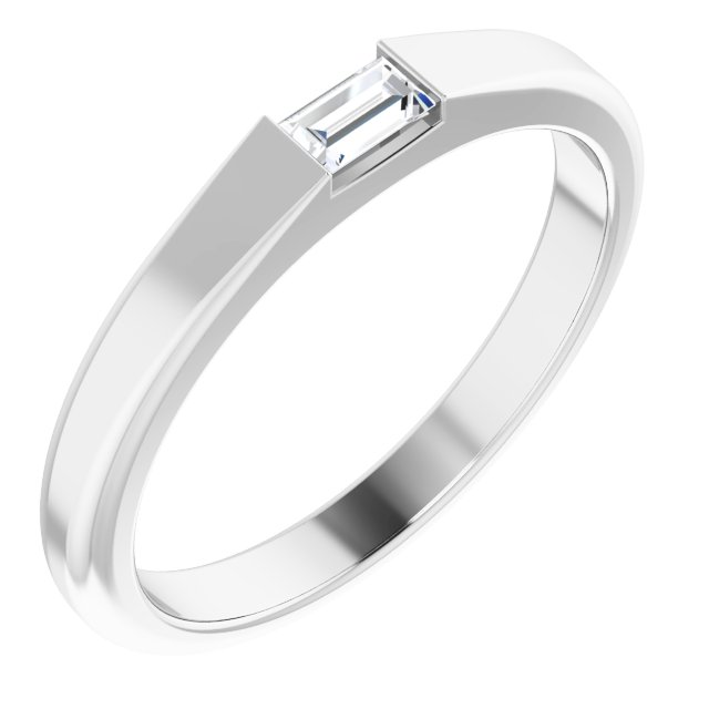 White Diamond Ring in 14 Karat White Gold 1/10 Carat Diamond Stackable Ring Size 5.5