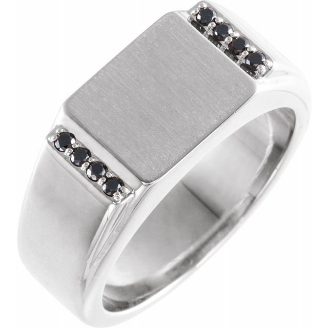 White Diamond Ring in 14 Karat White Gold 1/10 Carat Black Diamond 11.5x10 mm Rectangle Signet Ring