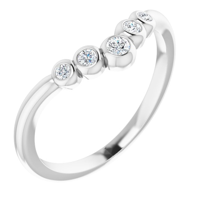 White Diamond Ring in 14 Karat White Gold 1/10 Carat Diamond Bezel-Set Graduated