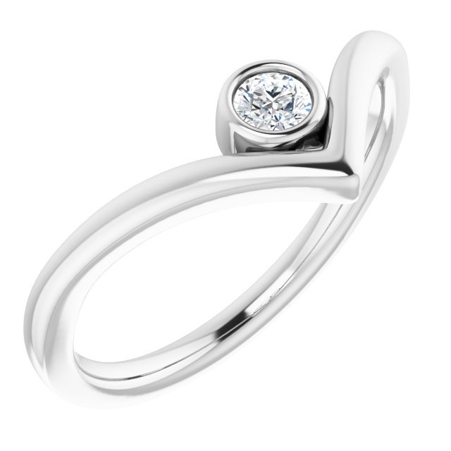 White Diamond Ring in 14 Karat White Gold 1/10 Carat Diamond Solitaire Bezel-Set