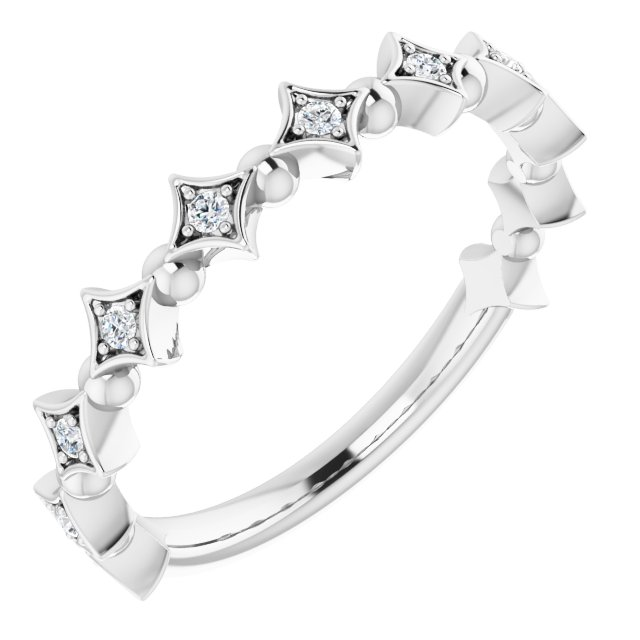 White Diamond Ring in 14 Karat White Gold 1/10 Carat Diamond Stackable Ring