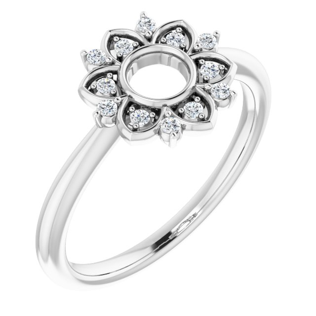 White Diamond Ring in 14 Karat White Gold 1/10 Carat Diamond Starburst Ring