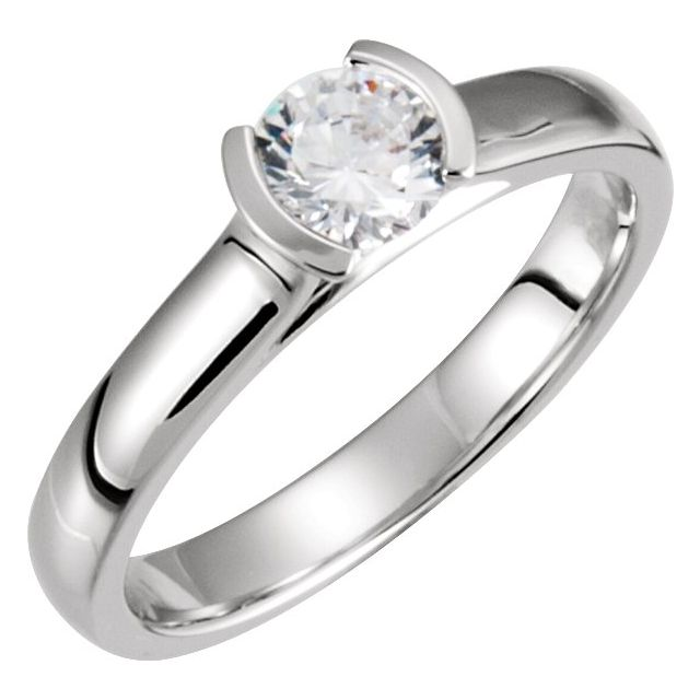 White Diamond Ring in 14 Karat White Gold 1/2 Carat Diamond Bezel-Set Solitaire Engagement Ring