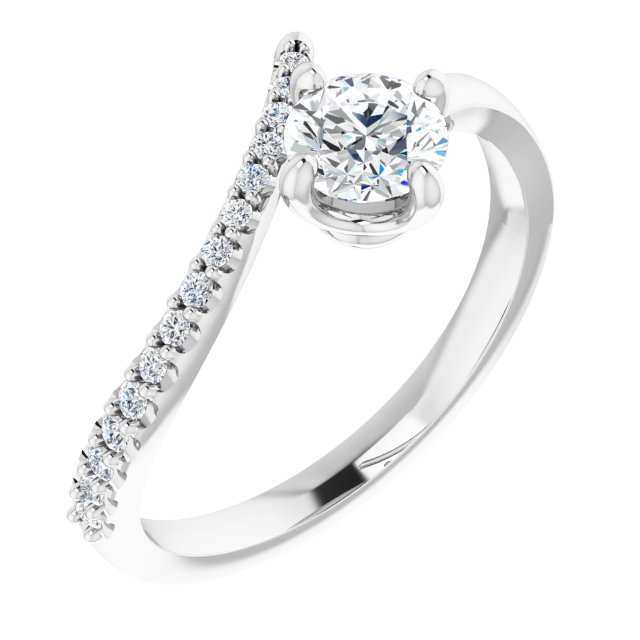 White Diamond Ring in 14 Karat White Gold 1/2 Carat Diamond Bypass Ring