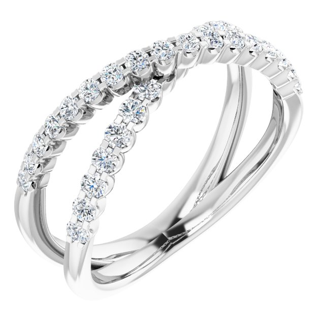 White Diamond Ring in 14 Karat White Gold 1/2 Carat Diamond Criss-Cross Ring