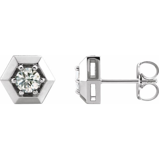 White Diamond Earrings in 14 Karat White Gold 1/2 Carat Diamond Geometric Earrings