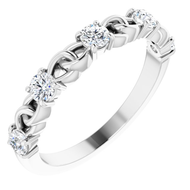 White Diamond Ring in 14 Karat White Gold 1/2 Carat Diamond Stackable Link Ring