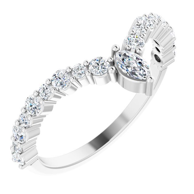 White Diamond Ring in 14 Karat White Gold 1/2 Carat Diamond
