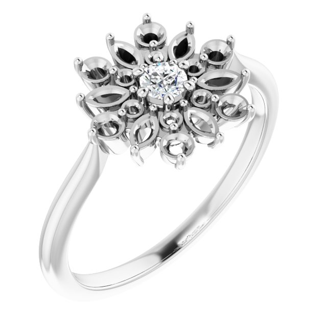 White Diamond Ring in 14 Karat White Gold 1/2 Carat Diamond Vintage-Inspired Ring