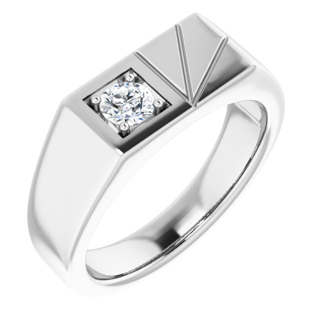 White Diamond Ring in 14 Karat White Gold 1/3 Carat Diamond Men's Ring