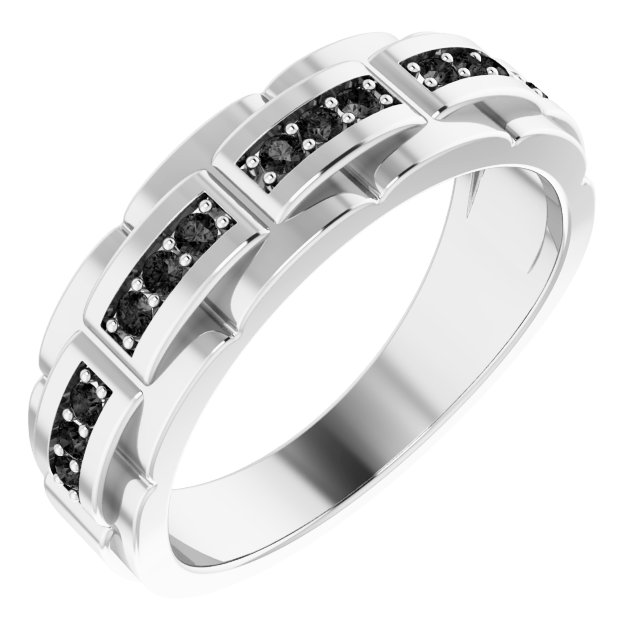 White Diamond Ring in 14 Karat White Gold 1/3 Carat Black Diamond Pattern Ring