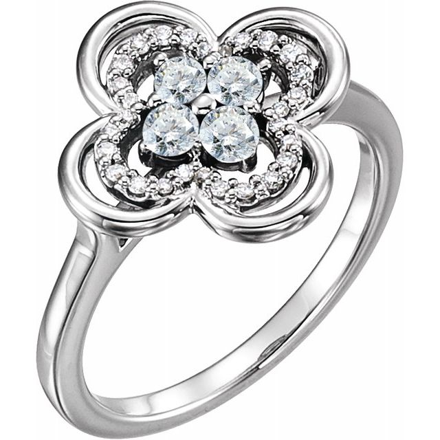 White Diamond Ring in 14 Karat White Gold 1/3 Carat Diamond Clover Ring