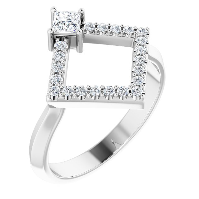 White Diamond Ring in 14 Karat White Gold 1/3 Carat Diamond Geometric Ring